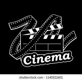 Film and tape. Object on black background. Vector flat image