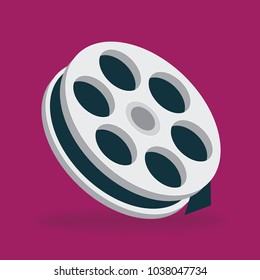 Film tape reel. Vector Illustration. Film tape flat design icon.