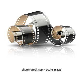 Film tape twisted reel for cinematography movies or photography. Cinema concept isolated on white (transparent) background. Vector illustration.