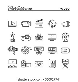 Film, video, shooting, editing and more, thin line icons set, vector illustration