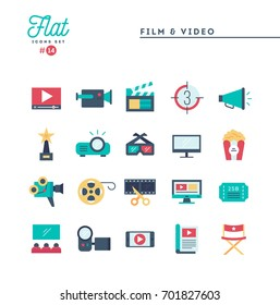 Film, video, shooting, editing and more, flat icons set, vector illustration