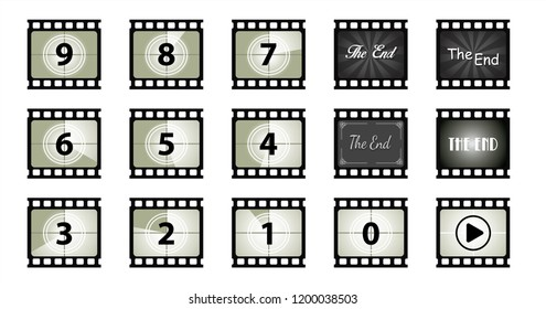 Film vintage The End cinema Vector eps screen counters theatre Movie clap fun funny countdown Grunge film strip old The timer countdown numbers camera Old film