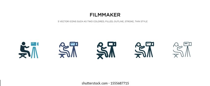 filmmaker icon in different style vector illustration. two colored and black filmmaker vector icons designed in filled, outline, line and stroke style can be used for web, mobile, ui