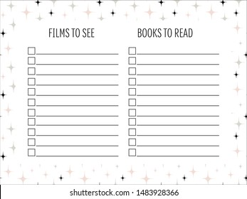 Films and books lists with Hand drawn doodle texture. To do lists. Template, sample, page idea for bullet journal planner. Vector illustration. Abstract shapes.  Printable organizer, diary, planner.