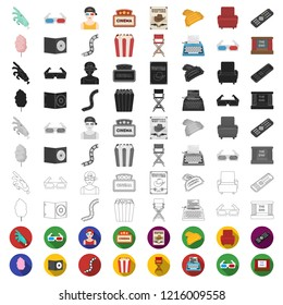 Films and cinema cartoon icons in set collection for design.Movies and Attributes vector symbol stock web illustration.