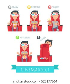 Films genres. Man in 3d stereo glasses seating in cinema with popcorn, watching movie isolated flat vector set. Cinema spectator film live reaction. Drama, detective, comedy, adventure, horror concept