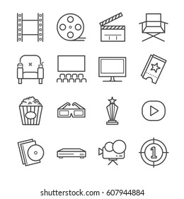 Films and Movies line icon set. Included the icons as film, reel, theater, popcorn, seat, screen and more.