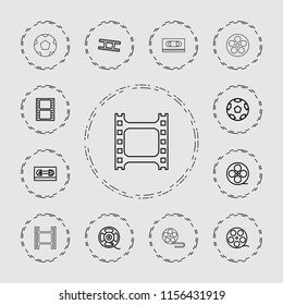 Filmstrip icon. collection of 13 filmstrip outline icons such as movie tape, camera tape. editable filmstrip icons for web and mobile.