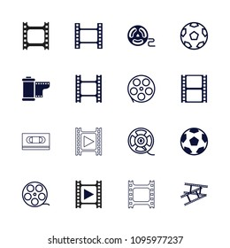 Filmstrip icon. collection of 16 filmstrip filled and outline icons such as movie tape, camera tape. editable filmstrip icons for web and mobile.