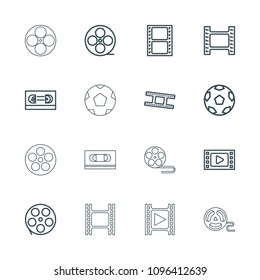 Filmstrip icon. collection of 16 filmstrip outline icons such as movie tape, film tape. editable filmstrip icons for web and mobile.