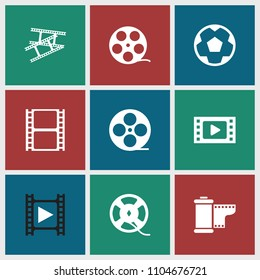 Filmstrip icon. collection of 9 filmstrip filled icons such as movie tape, camera tape. editable filmstrip icons for web and mobile.