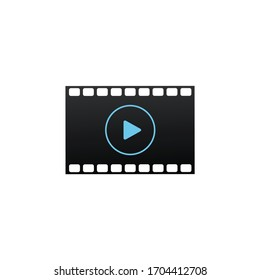 Filmstrip icon. Film or Media Icon. Play button. Cinema strip. TV Movie entertainment symbol. Stock Vector illustration isolated on white background.
