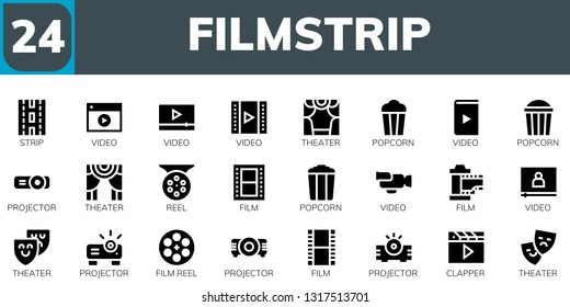 filmstrip icon set. 24 filled filmstrip icons.  Collection Of - Strip, Video, Theater, Popcorn, Projector, Reel, Film, Film reel, Clapper