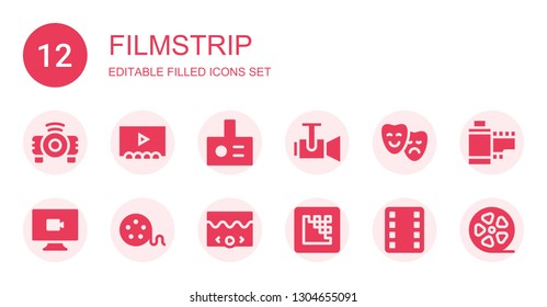 filmstrip icon set. Collection of 12 filled filmstrip icons included Projector, Theater, Video, Film reel, Media encoder, Film, Film strip, roll