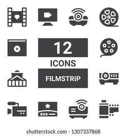 filmstrip icon set. Collection of 12 filled filmstrip icons included Film strip, Projector, Video, Theater, Film reel, Film roll