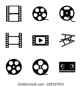 Filmstrip icons set. set of 9 filmstrip filled icons such as movie tape, film tape