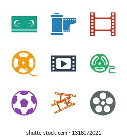 filmstrip icons. Trendy 9 filmstrip icons. Contain icons such as camera tape, movie tape, film tape. filmstrip icon for web and mobile.