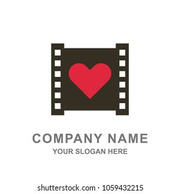 Filmstrip Love Camera Movie Logo Vector Illustration