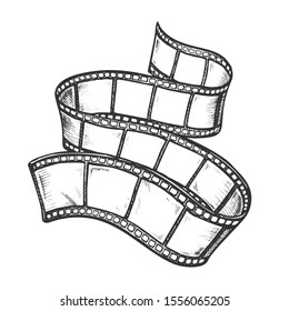 Filmstrip For Old Video Camera Monochrome Vector. Blank Photography Record Filmstrip. Filmmaking Equipment Element Engraving Template Hand Drawn In Vintage Style Black And White Illustration