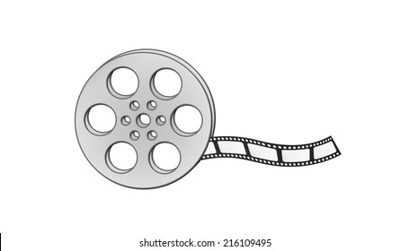 filmstrip and reel on white background, isolated