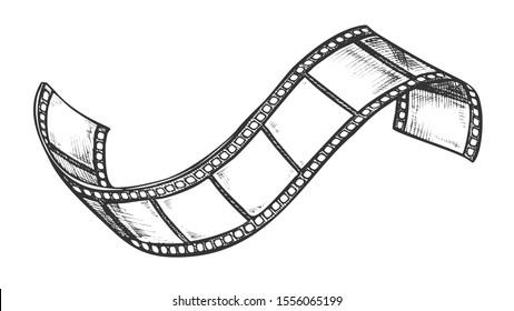 Filmstrip Roll For Cinema Projector Retro Vector. Simple Ancient Blank Filmstrip Slides. Hollywood Filmmaking Element Engraving Mockup Designed In Vintage Style Black And White Illustration