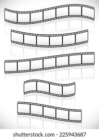 Filmstrips vectors for photographic concepts. 5 different versions. Their reflections follow their curves  (made with gradient meshes in opacity masks)