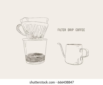 filter drip coffee, filter drip and kettle sketch vector.