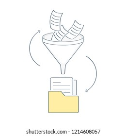 Filter funnel, document or information filtering concept to folder, big data filter, data tunnel, analysis. Flat outline isolated vector illustration of website element on white.