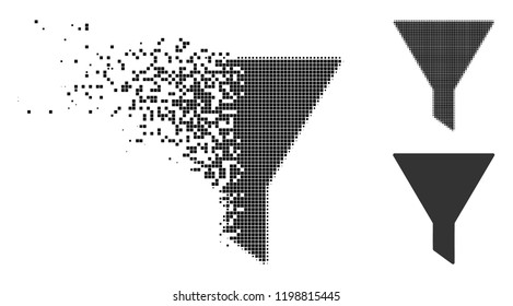 Filter icon in disappearing, dotted halftone and undamaged entire variants. Fragments are arranged into vector disappearing filter figure. Disappearing effect uses rectangle points.