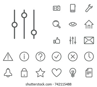 Filter icon in set on the white background. Universal linear icons to use in web and mobile app.