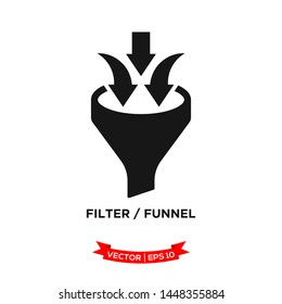 filter icon in trendy flat style, funnel vector icon