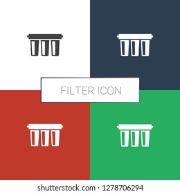 filter icon white background. Editable filled filter icon from smarthome. Trendy filter icon for web and mobile.