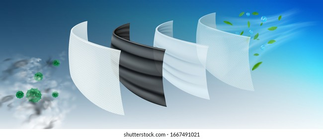 The filter layer of the surgical protective mask The first layer is coated with antiseptics, viruses and bacteria. 2 layers of carbon, eliminate dust and odor, 3 layers fine fabric, 4 layers of air.