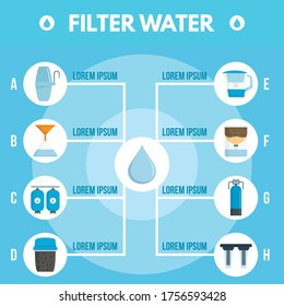 Filter water purification infographic. Flat illustration of filter water purification vector infographic for web design