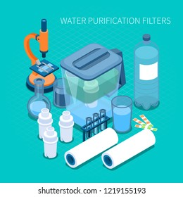 Filters for home water purification and test laboratory equipment isometric composition on turquoise background vector illustration