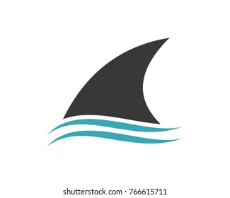 Fin Shark above the Water Modern Logo Symbol