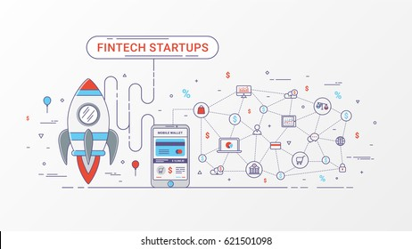 Fin tech start up info graphic design. On line Payments and On line transactions. Delivery of financial services. Rocket, mobile phone and commercial icons. Vector illustration. Flat line design.