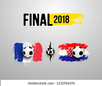 Final 2018. Set of Realistic soccer ball on flag of France vs Croatia, made of brush strokes. Vector illustration. Isolated on gray background