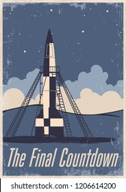 The Final Countdown to Launch Vector Vintage Space Propaganda Poster