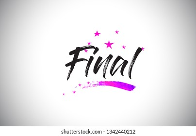 Final Handwritten Word Font with Vibrant Violet Purple Stars and Confetti Illustration.