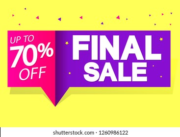 Final Sale, up to 70% off, discount banner, speech bubble, vector illustration