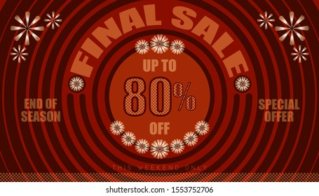 final sale up to 80% end of year special offer. vintage retro style. small to big circle from center. creative poster design. vector illustration eps10