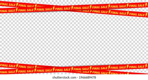 Final sale advertising crossed ribbon border frame design. Graphic element for product promotion and shopping on transparent background. Wholesale caution tape ornate vector illustration