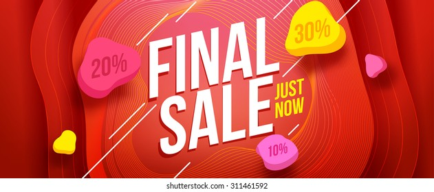 Final sale banner design. Sale and discounts. Vector illustration