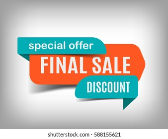 Final sale banner, discount tag, special offer. Website sticker on a gray abstract background, orange web page design. Vector illustration, eps10