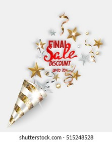 Final sale banner with gold and silver sparkling serpentine, stars and beads. Vector illustration