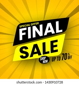 Final sale banner on striped background, special offer up to 70% off. Vector illustration.
