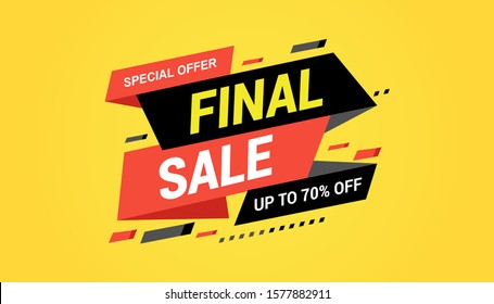 Final sale banner, special offer up to 70% off. Vector illustration.