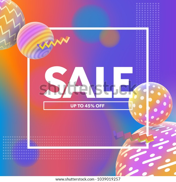 Final Sale banner. Special offer, big sale banner. Multicolored abstract vector holographic 3D background. Trendy liquid gradients. Template for banner and advertising poster. Vector illustration.