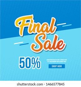 Final Sale Banner Template Design shop Now Vector Illustration